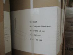 800 Overbath side panel, 800 x 1500 x 6mm, new and boxed. OSP8001