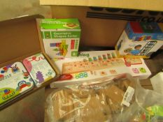 4 Items Being a Logarithmic Board,Shape Sorter, Stacking Bricks & a Shapes Puzzle Set.All New