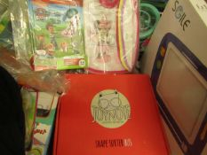 3 Items Being a Shape Sorter Bus,Paw Patrol Educational Book & 7 x Baby Bibs. All unused
