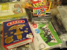 4 Items Being a UNO Card Game,Superfight Game,Bottle Challenge Match & a Twister Style Game.