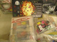 3 Items Being a Neon paint Set, Acrylic Paint Set & a 16 PC Face Paint set.