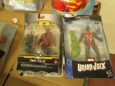 2 Items Being a Marvel union jack Figure & a DC Two Face Batman Figure. Both Unused