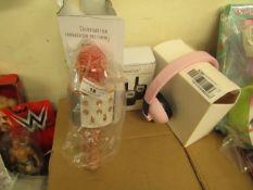 3 Items Being a Set of pink headphones, Set of 2 walkie Talkies & a Handheld WS-858 Wireless