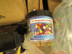 Tub of 100 Magnetic Marbles. Unused
