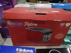 Swan 2 slice retro toaster, looks unused but unchecked and boxed