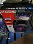 idance Groove Portable all in one party system, powers on and we have played music via bluetooth, no