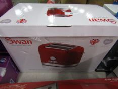 Swan 2 slice toaster, looks unused but unchecked and boxed