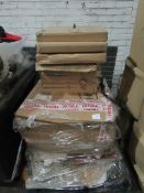 Pallet of Mixed stock including unknown flat pack furniture that says 1 of 1 on the box, 2x