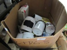 Box of Approx 10+ Household/Kitchen Items Being: Jars, Tins, Funnels, Wine Stain Remover Etc.