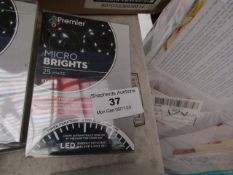 6x Premier - Micro Lights Static 25 White Lights (Battery Operated) - All Boxed.