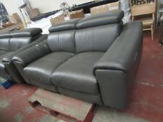 Grey Leather Italian 2 seater electric reclinig sofa, tested working and other than a quick wipe