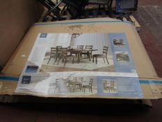 bayside Furnishings 7 piece dining set, all boxed and unchecked.