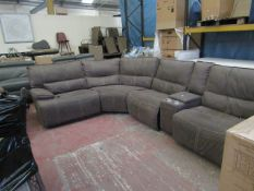 Kuka 5 section modular sofa, feature 3 electric reclining sections and a storage arm setion with cup