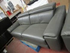 Grey Leather Italian 3 seater (2 seat cushions) electric reclinig sofa, tested working and other