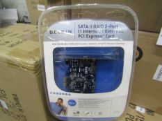 8x Belkin SATA II RAID 2-port 1 internal / 1 external PCI express card, new and packaged.
