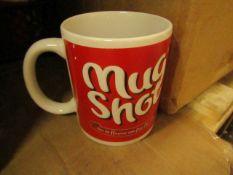 """5x """"Mug Shot"""" mugs, unused."""