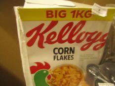 Kelloggs - Corn Flakes - 1Kg Box - BB 21/06/21 - Box Damaged.