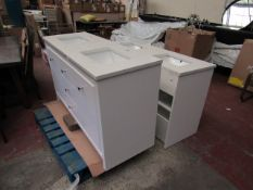 2x Costco Double Bath room vanity units with stone counters and under mounted sinks, one has a