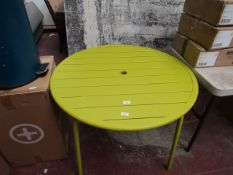 | 1X | MADE.COM GREEN OUTDOOR DINING TABLE 94CM DIAMETER | HAS A BOX AND MAY HAVE SMALL MARKS ON