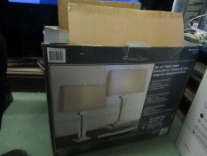 Set of 2 Bridgeport Designs Chrome & White Table Lamps. New & Boxed but Untested & Missing The Shade