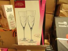 Box of 2 Cristal D'arques Champagne Flutes. New & Boxed