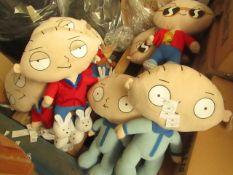 2 x Picked at Random Family Guy Stewie Teddies. 50cm Tall. Unused