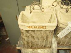 Grey Wicker Magazine Rack. Unused