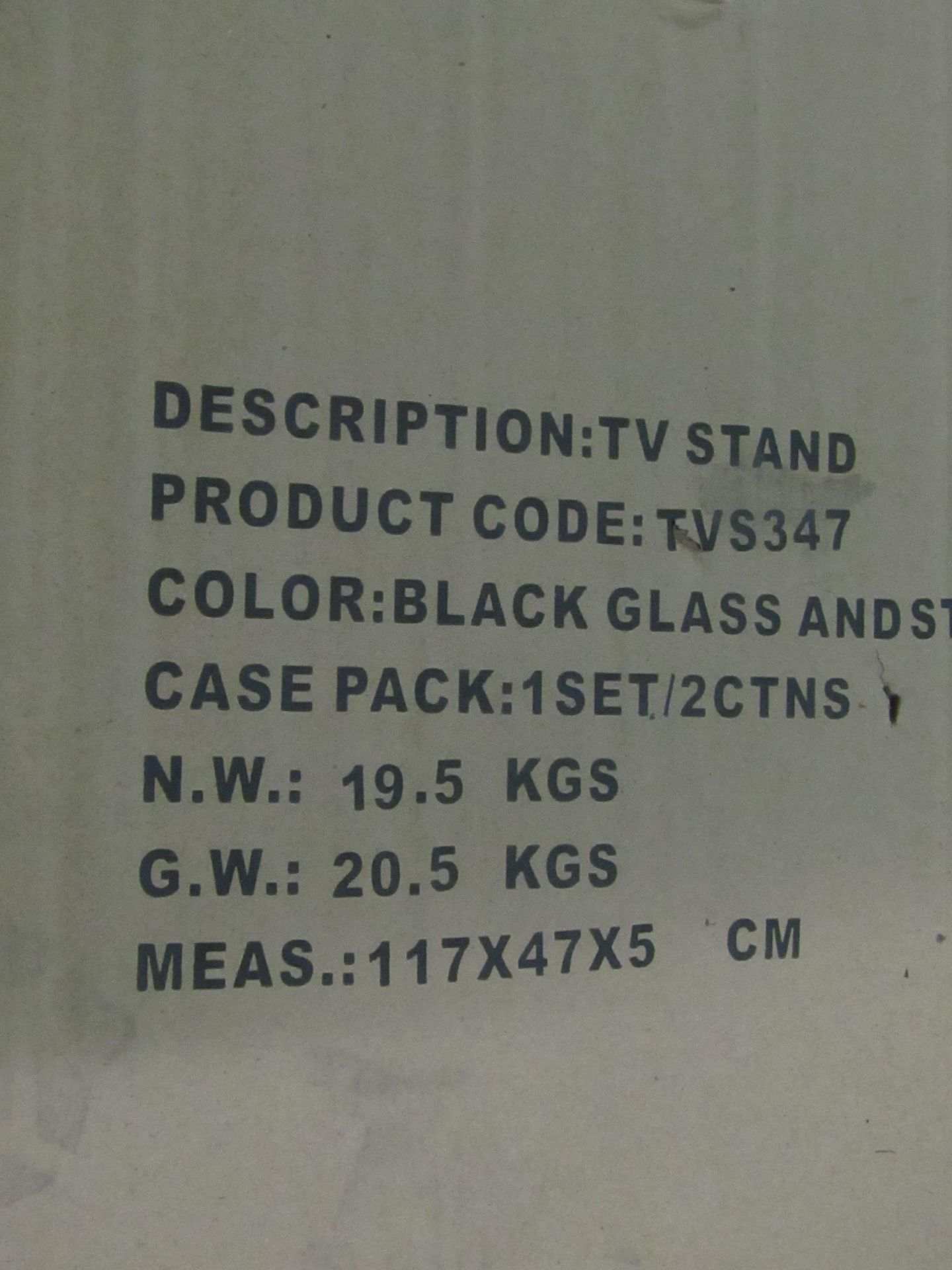 Tv Stand - Colour Black Stainless Steel Tube - new & Boxed