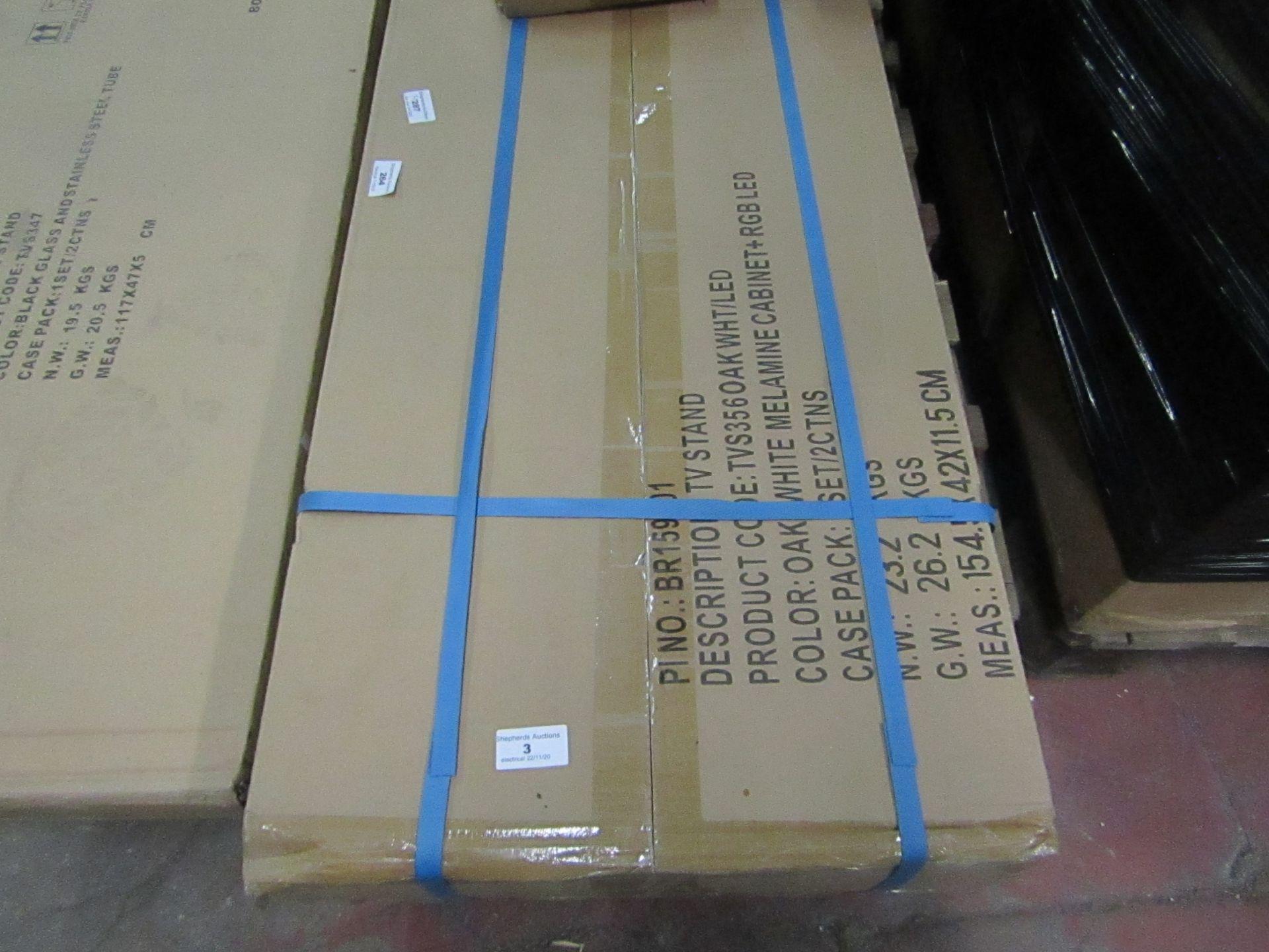 Tv Stand - Colour Oak White Melamine Cabinet + RGB LED - new & Boxed