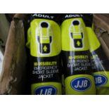 2x JJB - Hi-Vis Yellow Short Sleeve Emergency Jacket (Adult) - New & Packaged.