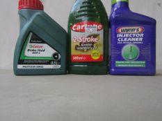 1x Castrol - Dot 4 Brake Fluid (0.5L) - Sealed. 1x Carlube - 2 Stroke Garden Machinery Oil (500ml) -