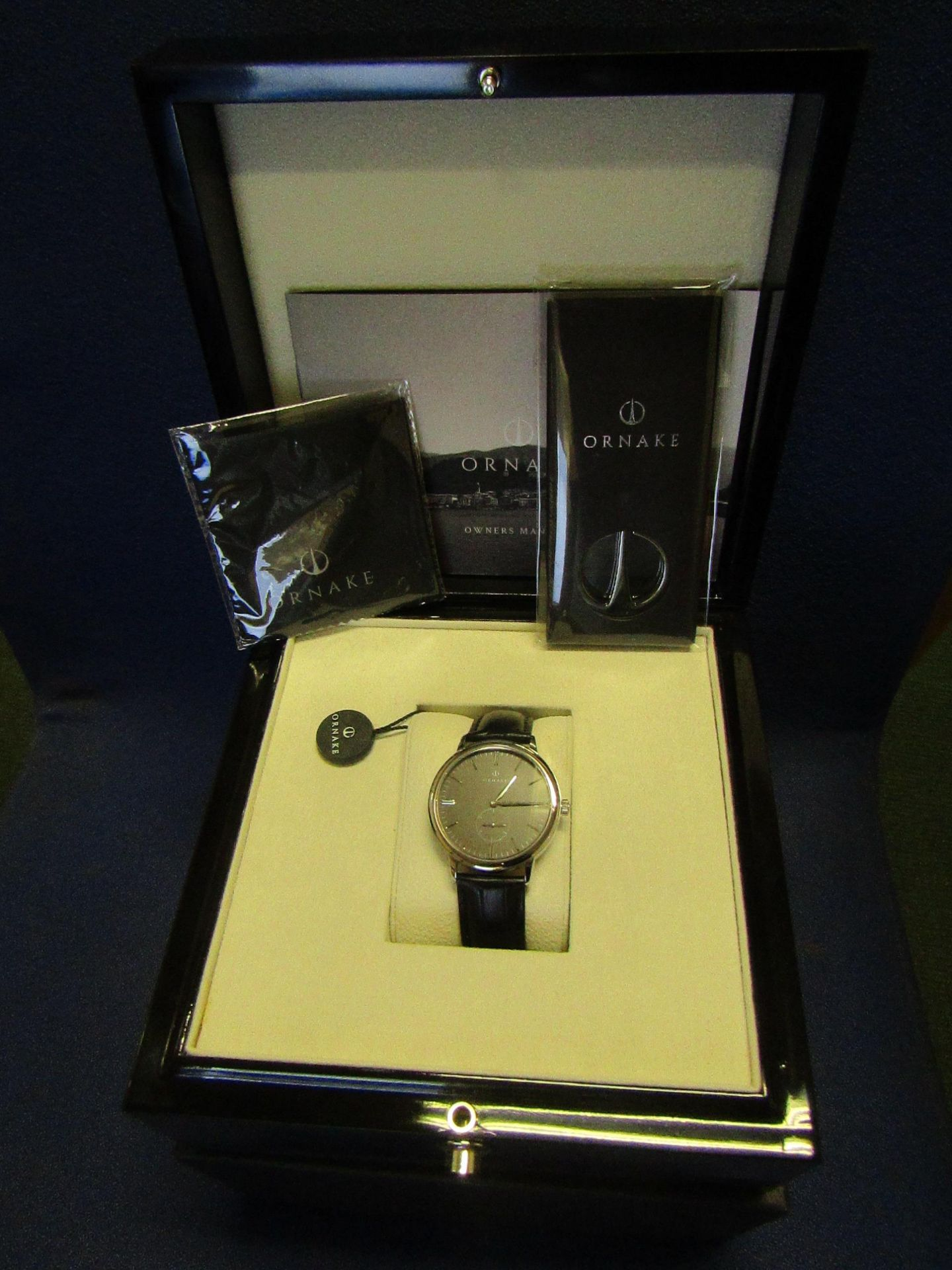 Ornake watch, miyota movement, black and Silver with black leather strap, new, Boxed and ticking.