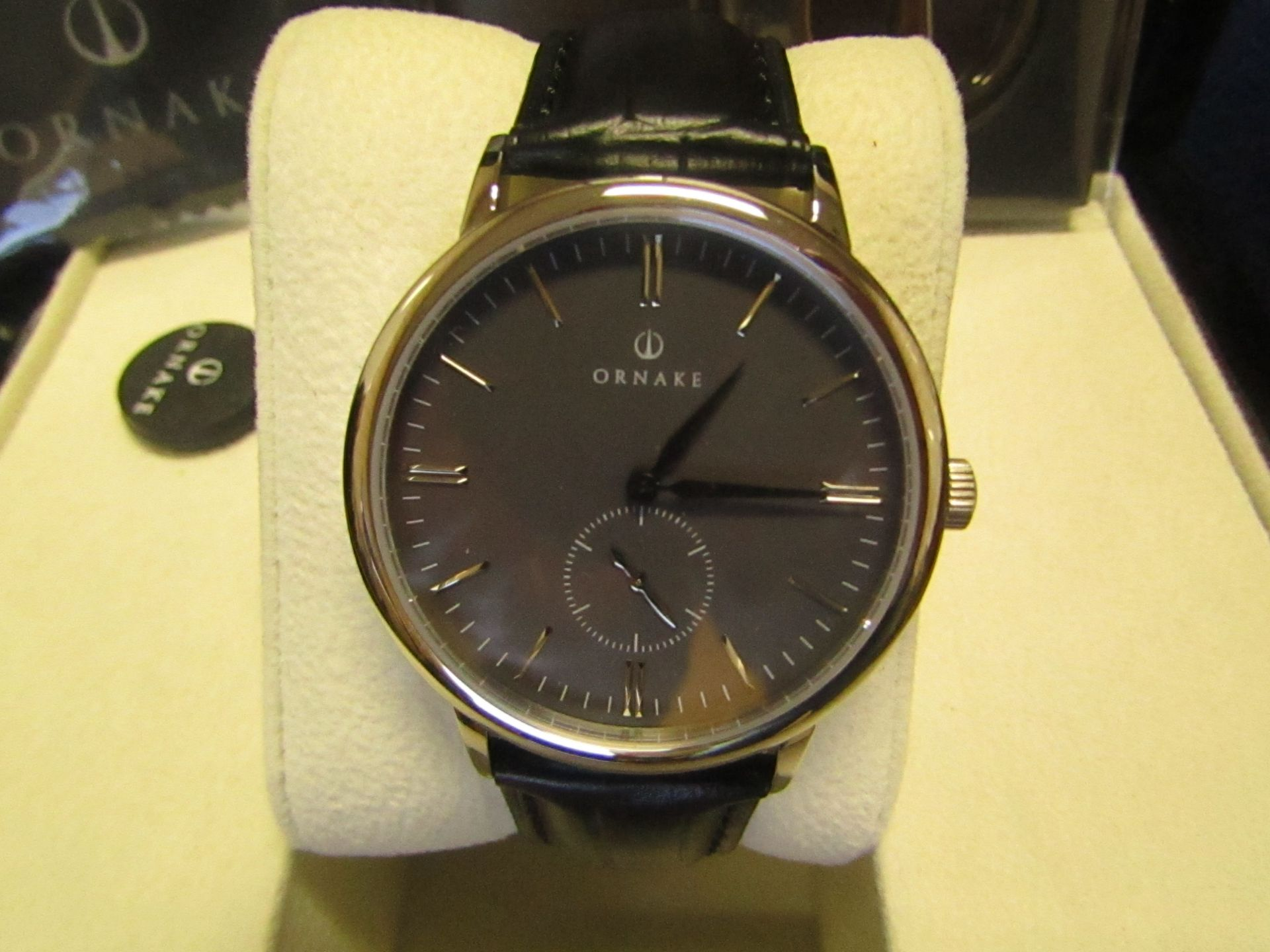 Ornake watch, miyota movement, black and Silver with black leather strap, new, Boxed and ticking. - Image 2 of 2