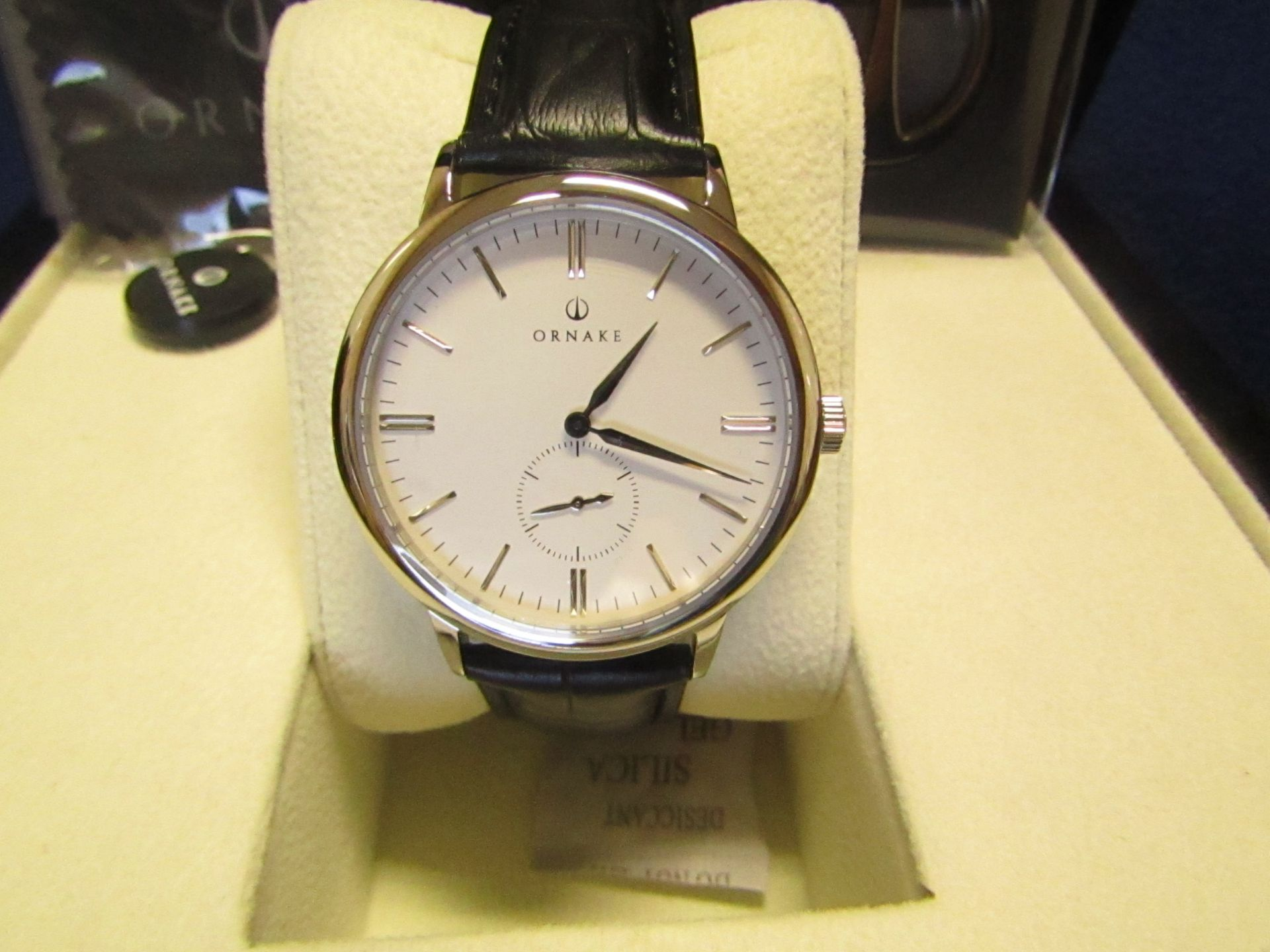Ornake watch, miyota movement, white and Silver with black leather strap, new, Boxed and ticking. - Image 2 of 2