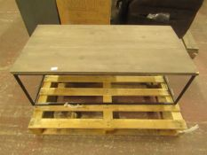 Coffe table with metal frame, the top needs reattaching and the corner is damaged