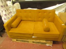 | 1X | SWOON 2 SEATER DEEP MUSTARD SOFA | MISSING LEGS AND THE BACK OF THE SOFA FRAME IS SNAPPED