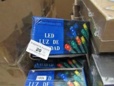 6x Illuminated Garland LED Lights - Unused & Boxed. - Have EU Plugs.