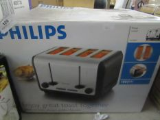 Philips - Stainless Steel 4 Slice Toaster - Untested & Boxed.