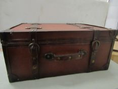 Vintique Wise - Brown Leather Chest/Truck CD Case - Unused & Boxed.