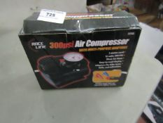 Race Line 300 PSI Air Compressor with Adapters. Unsued