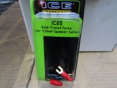5x Boxes of 12 Units Per Box Being: Ice Connections - IC65 Gold Plated Forks (For Speaker Cable) -