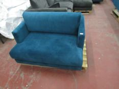 | 1x | SWOON VELOUR LOVE SEAT, NO FEET AND NEEDS A CLEAN, HAS A FEW BITS OF DAMAGE ON THE BACK BEING
