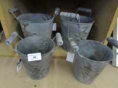 2x seets of 2 small ornate metal bucket planters