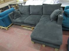 | 1x | SWOON BLACK VELOUR 3 SEATER SOFA, NO FEET AND NEEDS A CLEAN |