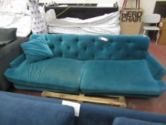 | 1x | SWOON VELOUR 3 SEATER SOFA, NO FEET AND NEEDS A CLEAN, THE SEAT CUSHIONS APPEAR TO BE FADED