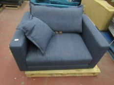 | 1x | SWOON BLUE FABRIC LOVE SEAT,NEEDS A CLEAN, HAS DAMAGE ON THE TOP CORNER OF ONE OF THE ARMS |