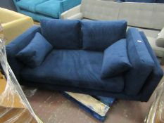 | 1x | SWOON BLUE VELOUR 2 SEATER SOFA, NO FEET AND NEEDS A CLEAN, 2 BITS OF DAMAGE TO ONE OF THE