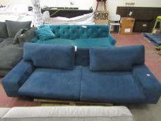 | 1x | SWOON BLUE FABRIC 3 SEATER SOFA, NO FEET AND NEEDS A CLEAN, THE BACK CUSHIONS ARE TOO SMALL