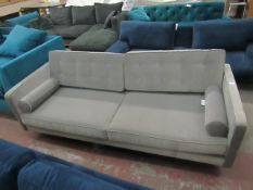 | 1x | SWOON GREY VELOUR 2 SEATER SOFA, NO FEET AND NEEDS A CLEAN, HAS A RIP ON THE BACK WHICH