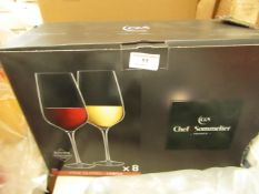 C&S - 8 Piece Krysta Wine Glasses 55cl - Box Damaged, Inside Content Should Be Fine.